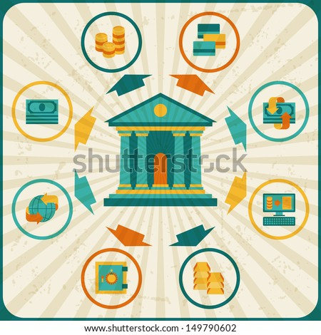 Conceptual banking and business infographic. - stock vector