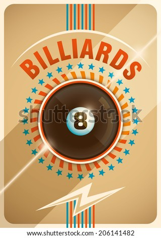 Conceptual billiards poster design. Vector illustration. - stock vector