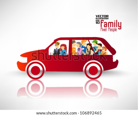 conceptual car transportation with many icon people vector design