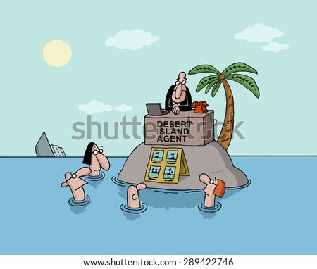 Conceptual cartoon about desert island and expectations - stock vector