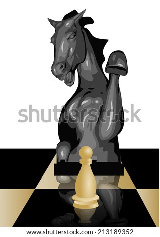 conceptual chess game, safety of a pawn - stock vector