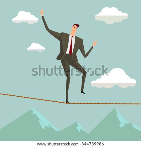 Conceptual concept of businessman or man in crisis walking in balance on rope over  blue sky background,metaphor to business,danger,risk,risky,finance,fall, dangerous,equilibrium,hazard or success. - stock vector