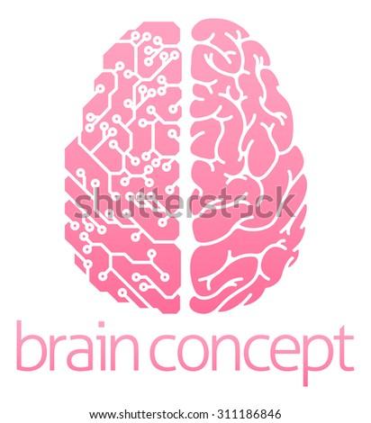 Conceptual design of a human brain electrical computer circuit concept design - stock vector
