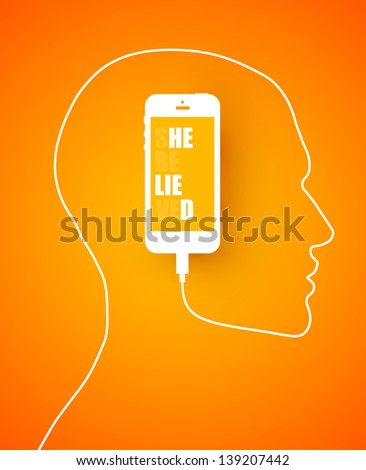 Conceptual design with a mobile phone cord forming a profile outline of a male head with the device inside displaying the text message on the screen. - stock vector