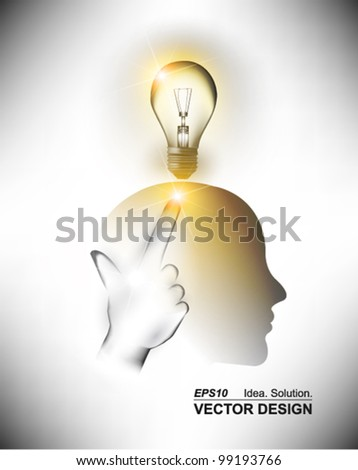 conceptual digital thinker with light bulb design - stock vector