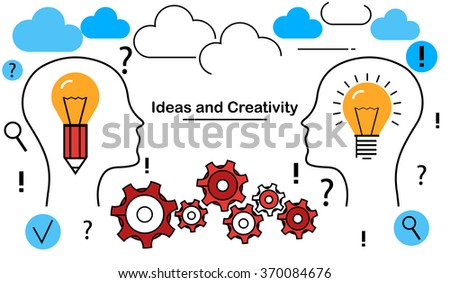 Conceptual flat line illustration of ideas and creativity - stock vector