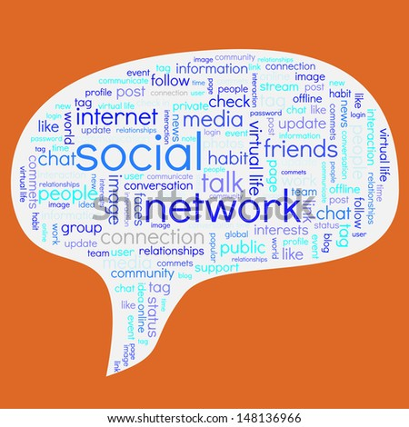 Conceptual font composition containing words related to social networks in the shape of a speech bubble - stock vector