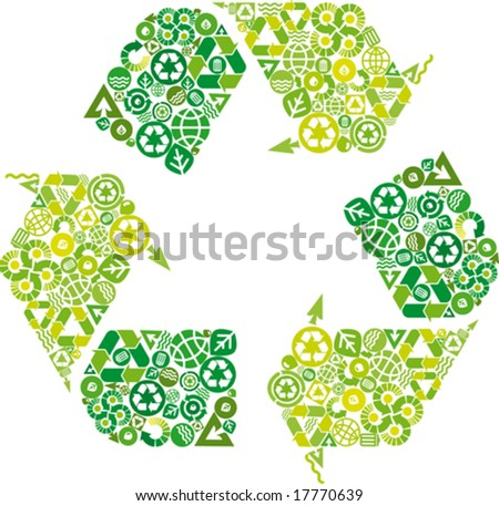 conceptual green leaf recycling symbol - stock vector