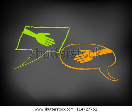 Conceptual hand shake slide with abstract bubbles communication on black chalkboard and chalk. Presentation template. Vector Illustration. - stock vector