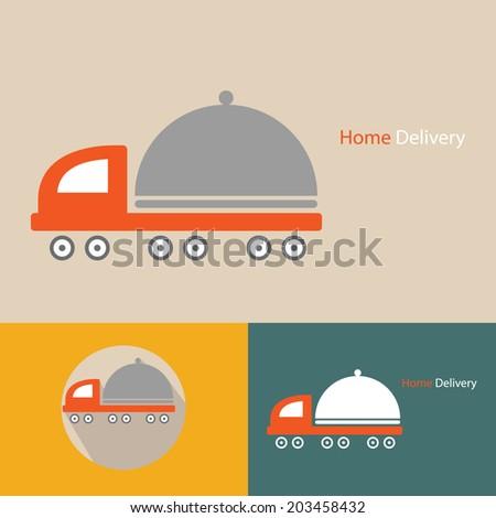 conceptual home delivery icon vector. - stock vector