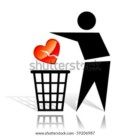 Conceptual icon with broken heart - stock vector