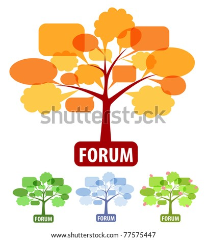 Conceptual icons of forum or chat: the tree of speech bubbles, four season of year as fall, winter, spring and summer.Vector graphic for forum concept. - stock vector