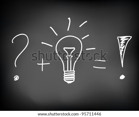 Conceptual idea of incandescent light bulb drawn on black chalkboard - vector illustration - stock vector