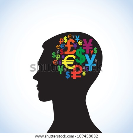 Conceptual idea: silhouette image of  head with symbol of money