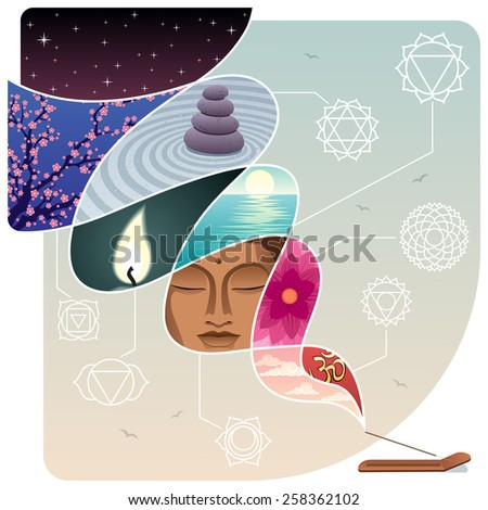 Conceptual illustration for relaxation and inner peace. No transparency used. - stock vector