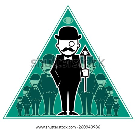 Conceptual illustration for secret society. No transparency and gradients used. - stock vector