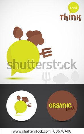 Conceptual illustration for 'think food'. Stylized Icon & business cards for Organic food. Vector EPS10. - stock vector