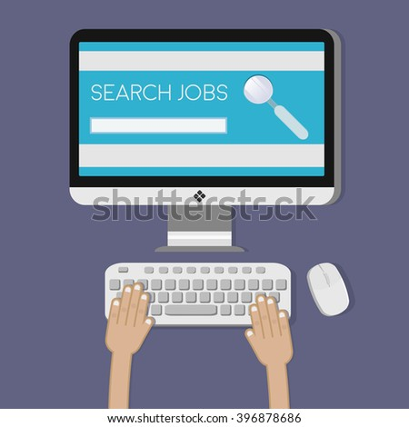 Conceptual illustration. Job search. The computer mouse, hands on the keyboard. Browser, search string, the magnifying glass icon.Flat design. Vector. - stock vector