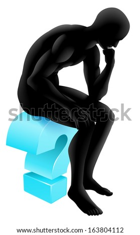 Conceptual illustration of a silhouette man seated on a question mark icon in a thinker pose deep in thought. Could be concept for any questioning or psychology, poetry or philosophy. - stock vector