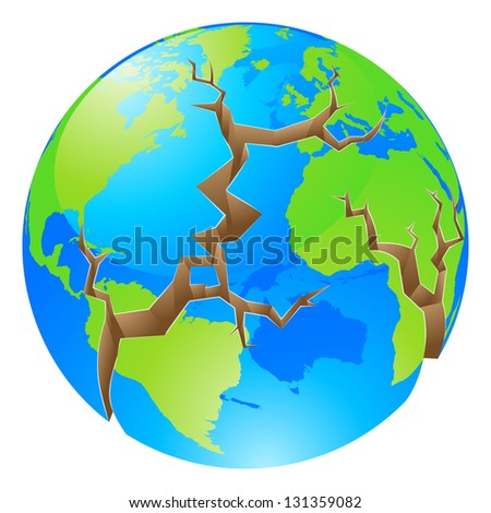 Conceptual illustration of a world crisis concept. The globe with big cracks opening up round it, could a concept for environmental problems or similar. - stock vector