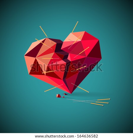 Conceptual illustration of an unhealthy or broken heart with a geometric pattern pierced with inserted acupuncture needles depicting the ancient traditional Chinese method of alternate healing - stock vector