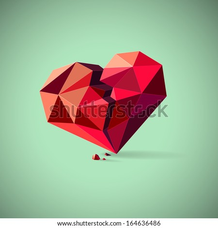 Conceptual illustration of an unhealthy or broken heart with pieces consisting of triangles - stock vector