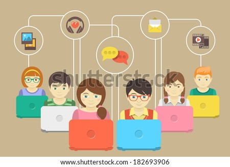Conceptual illustration of children with laptops sharing multimedia information - stock vector