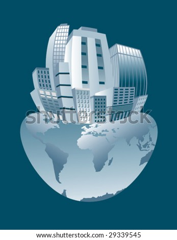 Conceptual illustration of city overpopulation stressing the Earth. - stock vector