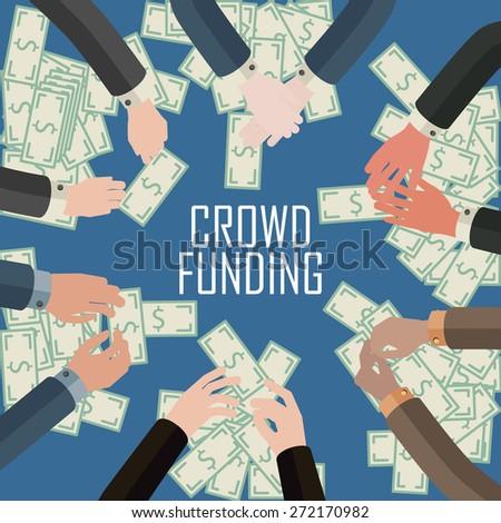 conceptual illustration of crowd funding idea - stock vector