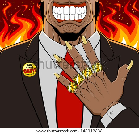 Conceptual illustration of evil boss. He has a devilish aspect and shows his golden rings: every ring has a letter to compose the word boss. Lapel badge with maxim on the jacket. Flaming background. - stock vector