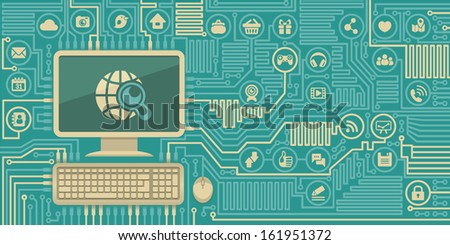 Conceptual illustration of Internet interaction in the form of computer board with a personal computer and social media icons - stock vector