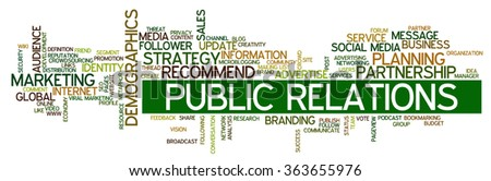 Conceptual illustration of tag cloud containing words related to public relations, social media, marketing, blogs, social networks and Internet  - stock vector