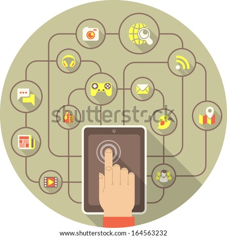 Conceptual illustration of the social interaction in the network using a tablet - stock vector