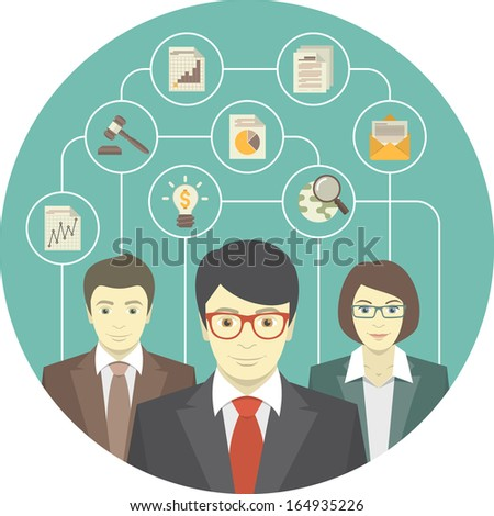 Conceptual illustration of the teamwork of professionals - stock vector
