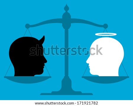 Conceptual illustration showing the silhouette of a vintage pan scale in equilibrium with the head of an angel and devil in blank and white showing the relationship between good and evil - stock vector