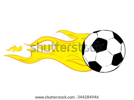 Conceptual illustration the soccerball burning from speed - stock vector