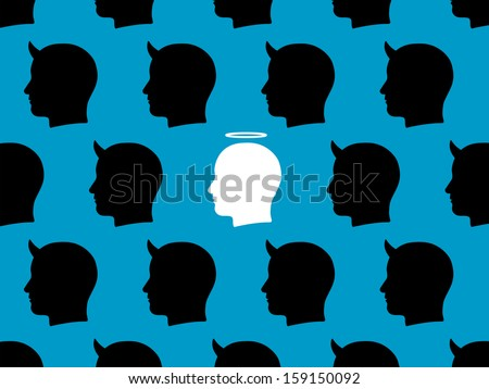 Conceptual illustration with a repeat design of rows of black male devils with their horns and a single central white male angel with his halo depicting individuality and survival of good amongst evil - stock vector