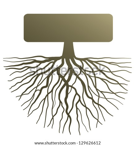 Conceptual illustration with silhouette of tree root - stock vector