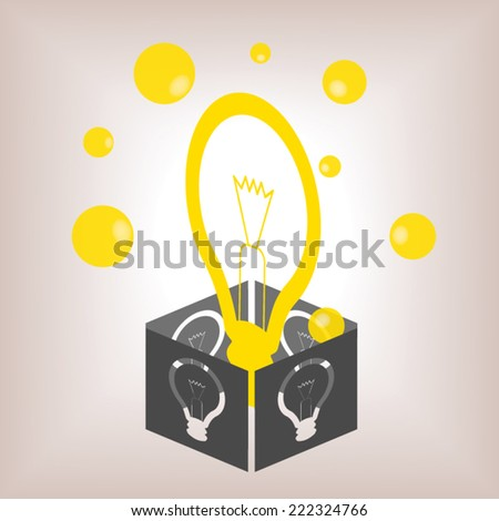 Conceptual image for an idea, with bright yellow light bulb rising out of a dark box (vector) - stock vector