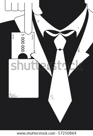 Conceptual image of business bribe. Briber is sliding banknote into pocket of businessman