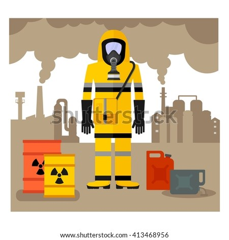 Conceptual image of environmental pollution. Worker in a chemical protection suit, gas mask, overalls and gloves. Toxic waste.Cartoon flat vector illustration. Objects isolated on a background.  - stock vector