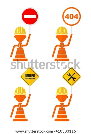 Conceptual image of prohibiting and warning signs. Set of icons for websites, infographics and printing.  404 error, under construction, do not enter, stop. - stock vector