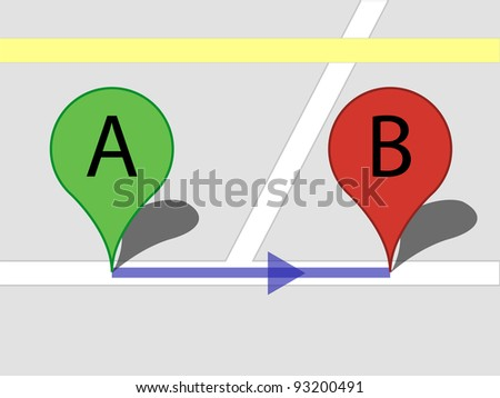 Conceptual image of street view showing the planned route? towards the goal, etc. - stock vector