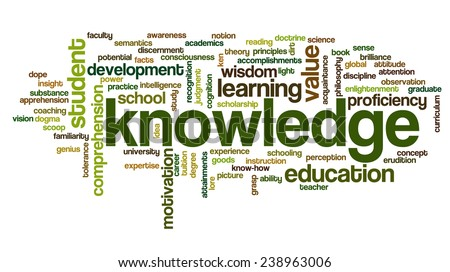 Conceptual image of tag cloud containing words related to knowledge, learning, education, wisdom and similar concepts - stock vector