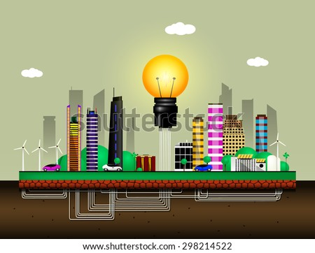 Conceptual image of the city of the future. City uses solar and wind energy for its own needs. Vector  - stock vector