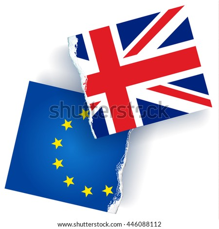 Conceptual image of torn United Kingdom and European union flags. Vector illustration