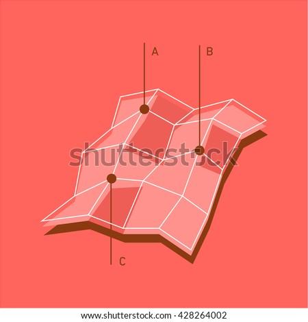 Conceptual Infographic D Map Chart Modern Stock Vector - Mapchart
