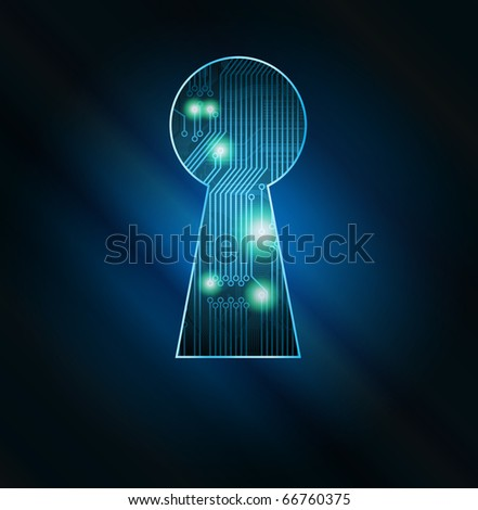 Conceptual key hole with circuit board fragment vector illustration. Eps10 - stock vector