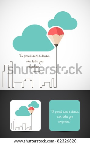 Conceptual logo identity illustration of the famous saying 'a pencil and a dream can take you anywhere', Vector EPS10.