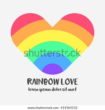 Conceptual logo with a rainbow heart. Simple flat icon with heart in rainbow colors of LGBT flag. Gay and lesbian support symbol. Design element for posters, banners and prints devoted on LGBT theme - stock vector